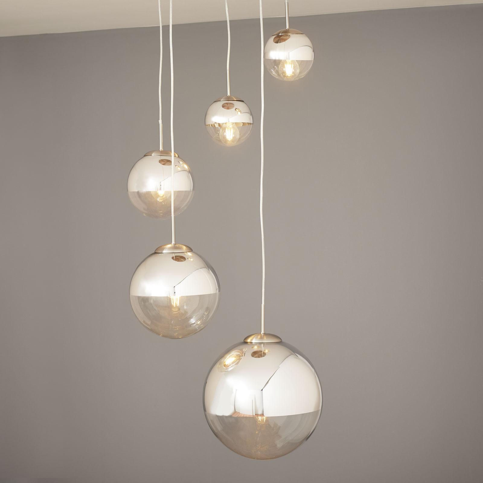 Lampada a sospensione Ravena con 5 sfere di vetro
