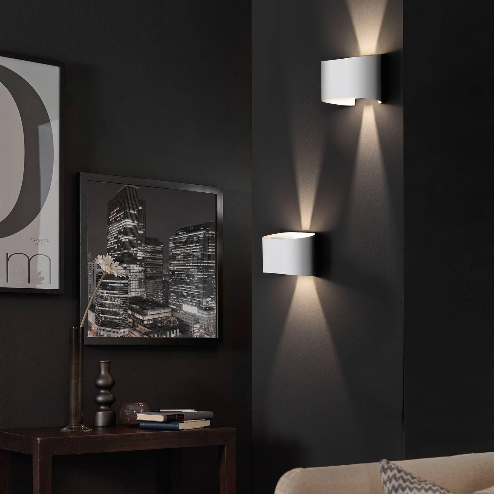 LED wandlamp Wall, 2-lamps, rond, wit
