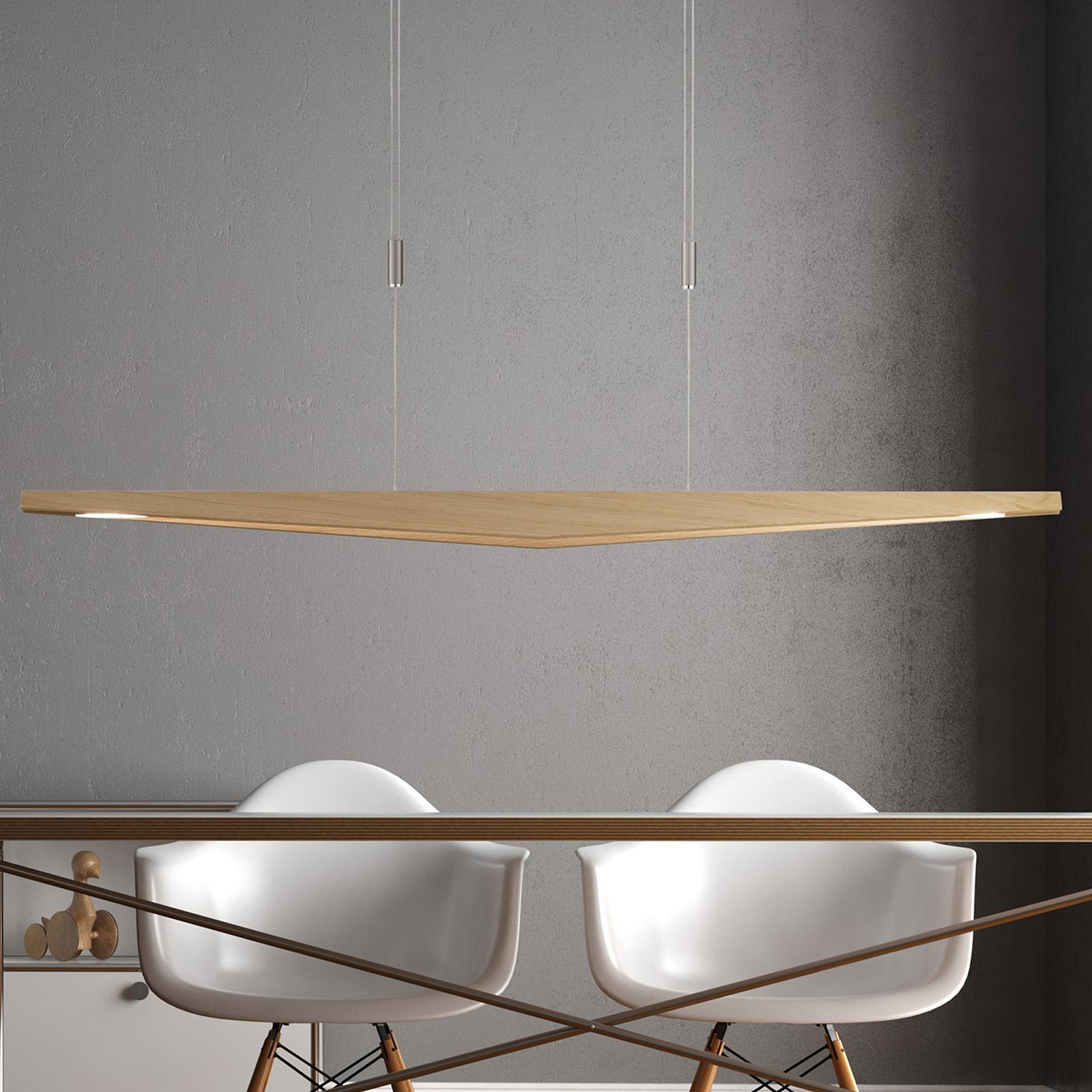 Lucande Dila LED hanglamp, eiken naturel 148 cm