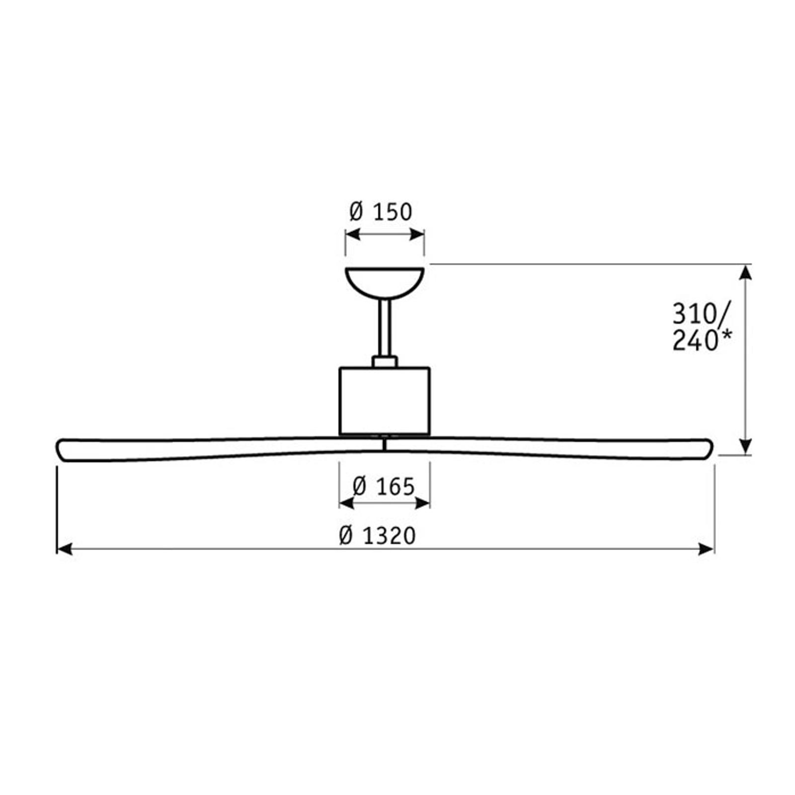 Aeroplan Eco stropný ventilátor, chróm, orech