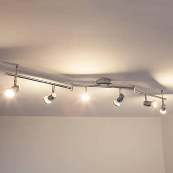 Plafonnier chromé LED Arminius à 6 lampes