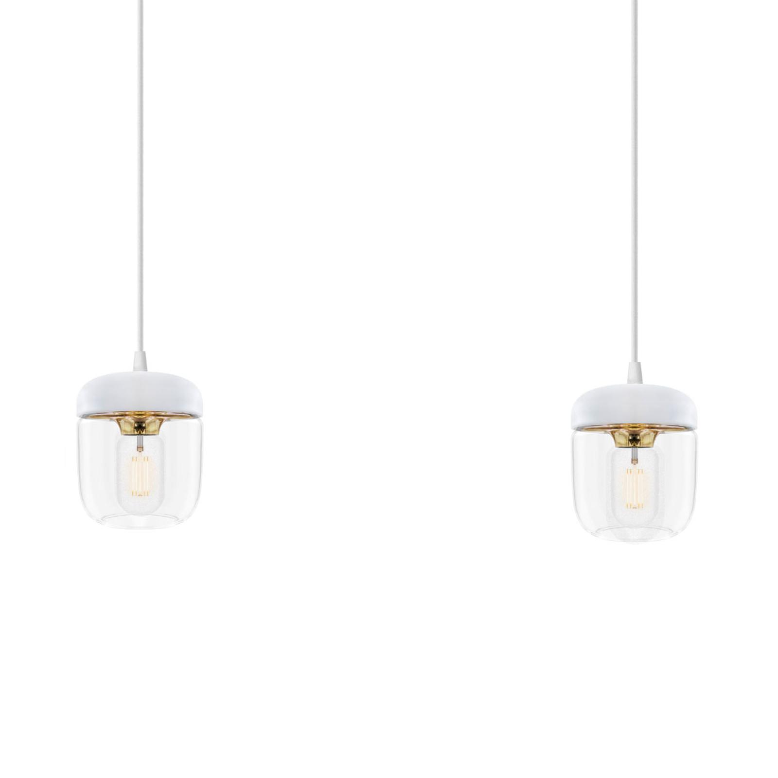 Lampa wisząca Acorn, 2-punktowa, biel i mosiądz