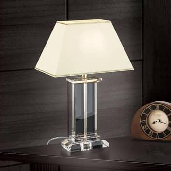 Lampada da tavolo Veronique, base larga, crema/oro
