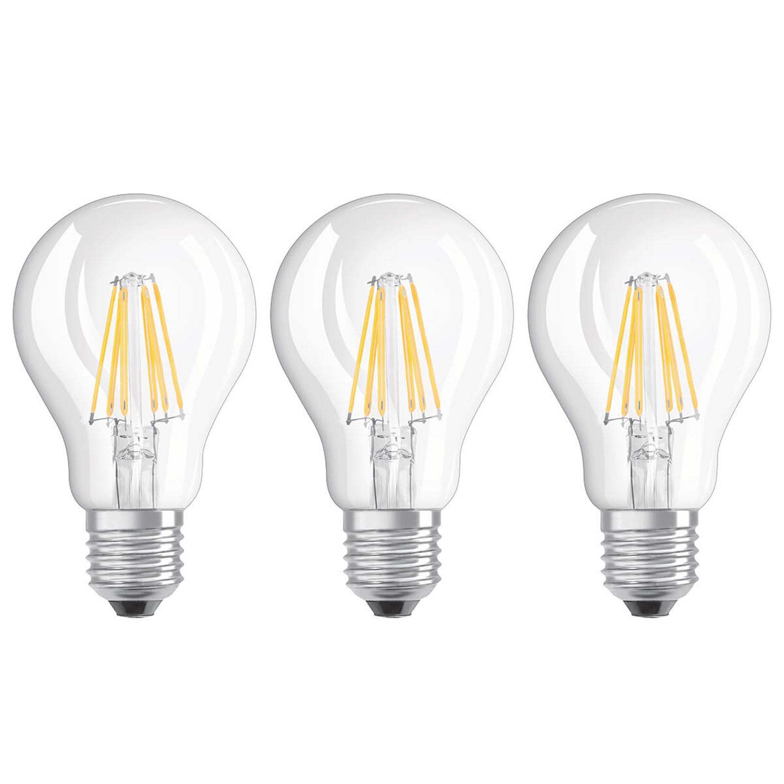 Ampoule filament LED E27 7 W blanc chaud, kit de 3
