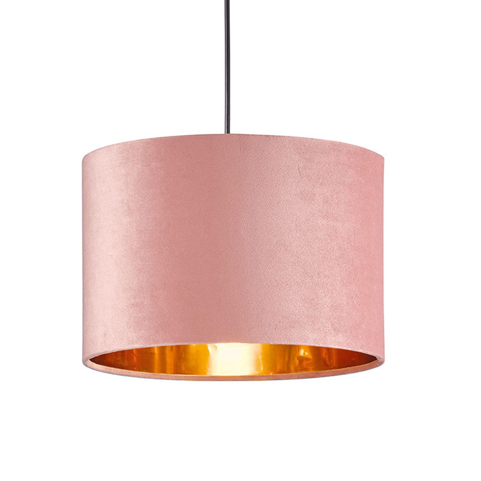 Hängeleuchte Aura mit Samtschirm, Ø 30 cm, rosa