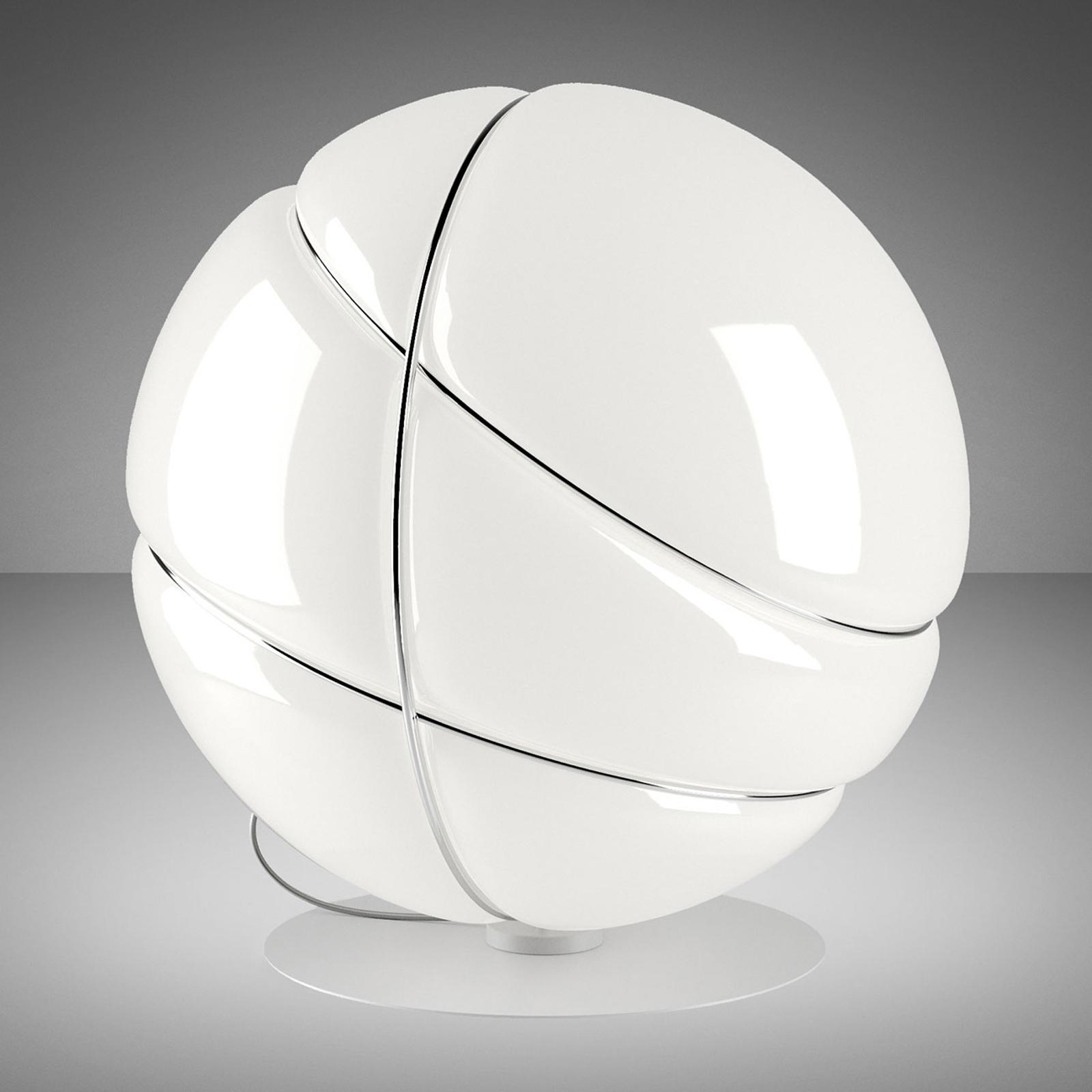 Fabbian Armilla Glas-Tischleuchte weiß, chrom