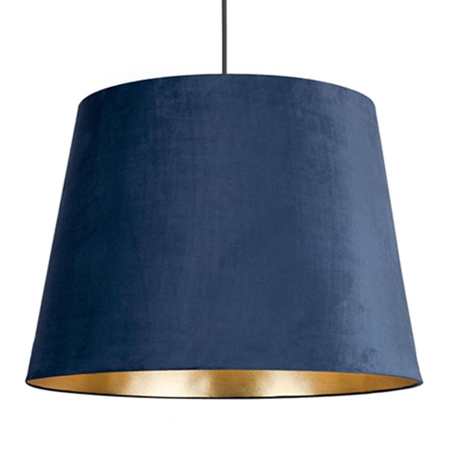 Suspension Cone M abat-jour velours Ø46,5cm bleue