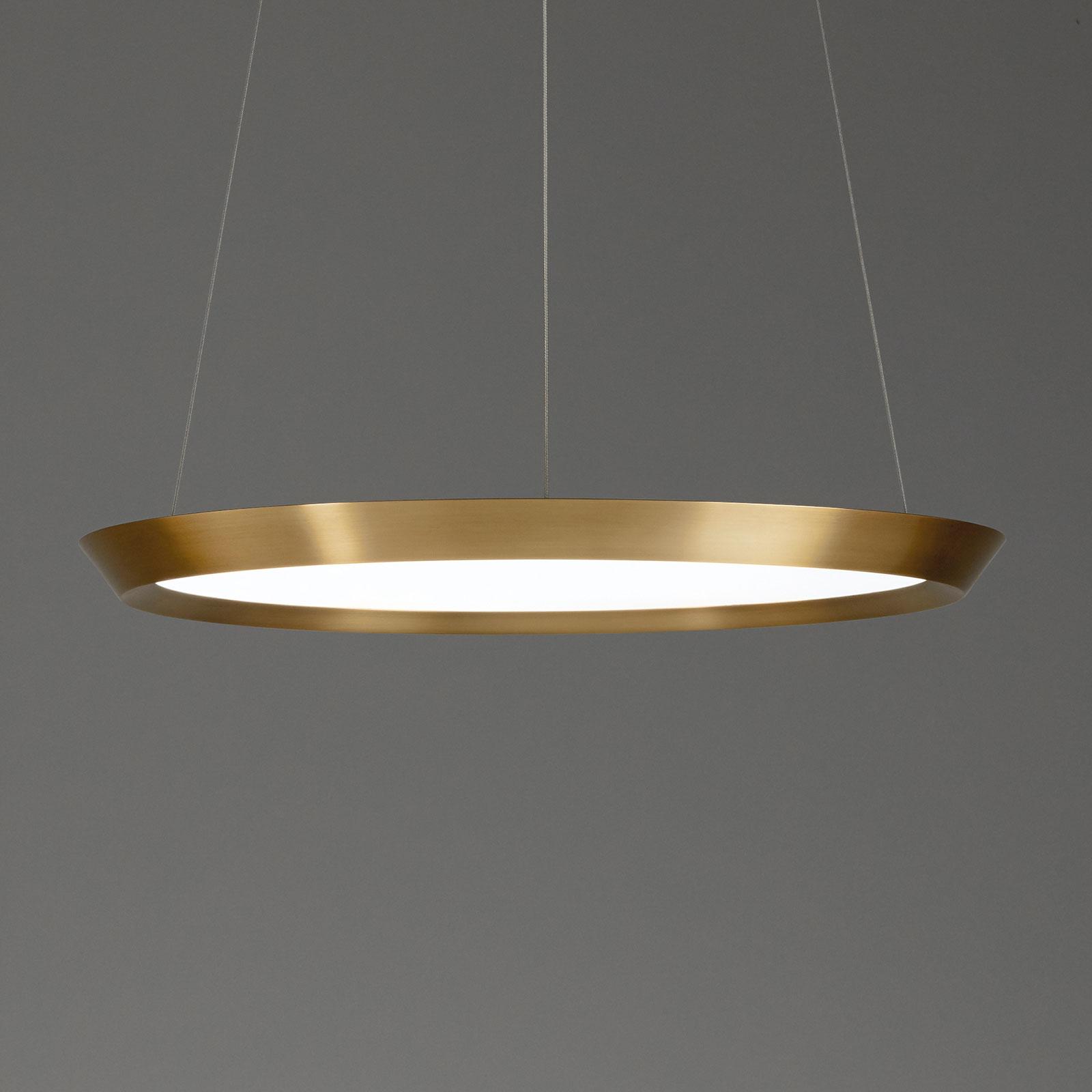 Grok Saturn LED hanglamp messing satijn, Ø 60 cm