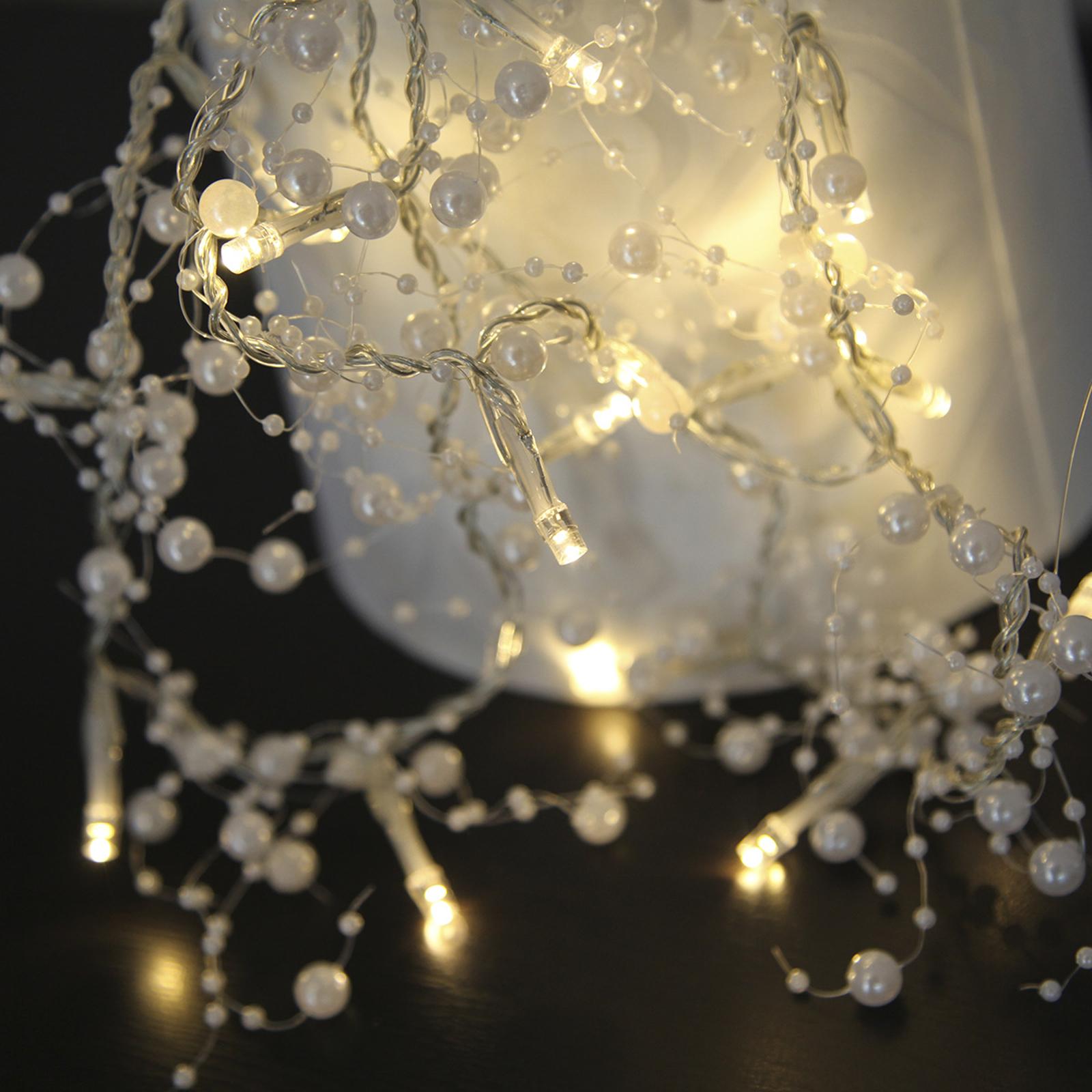 Weiße LED-Lichterkette Pärla Garland