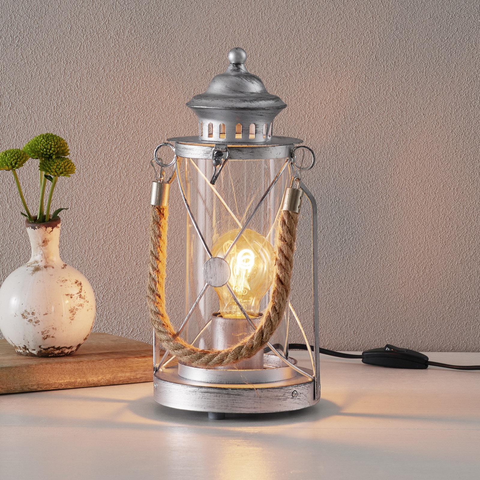 Světlá stolní lampa Kirian lucerna stříbrná-antika