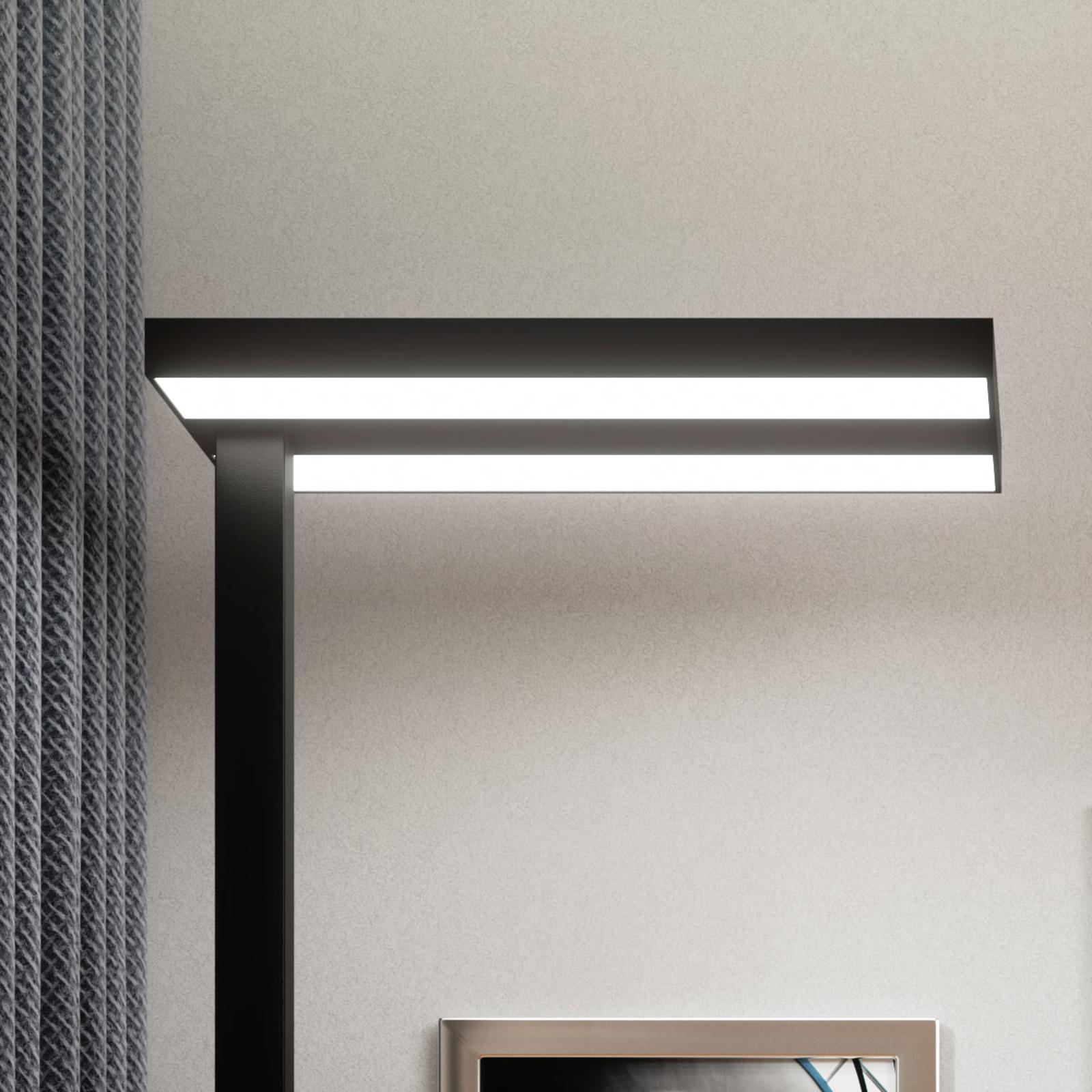 LED Office vloerlamp Logan in zwart, dimbaar