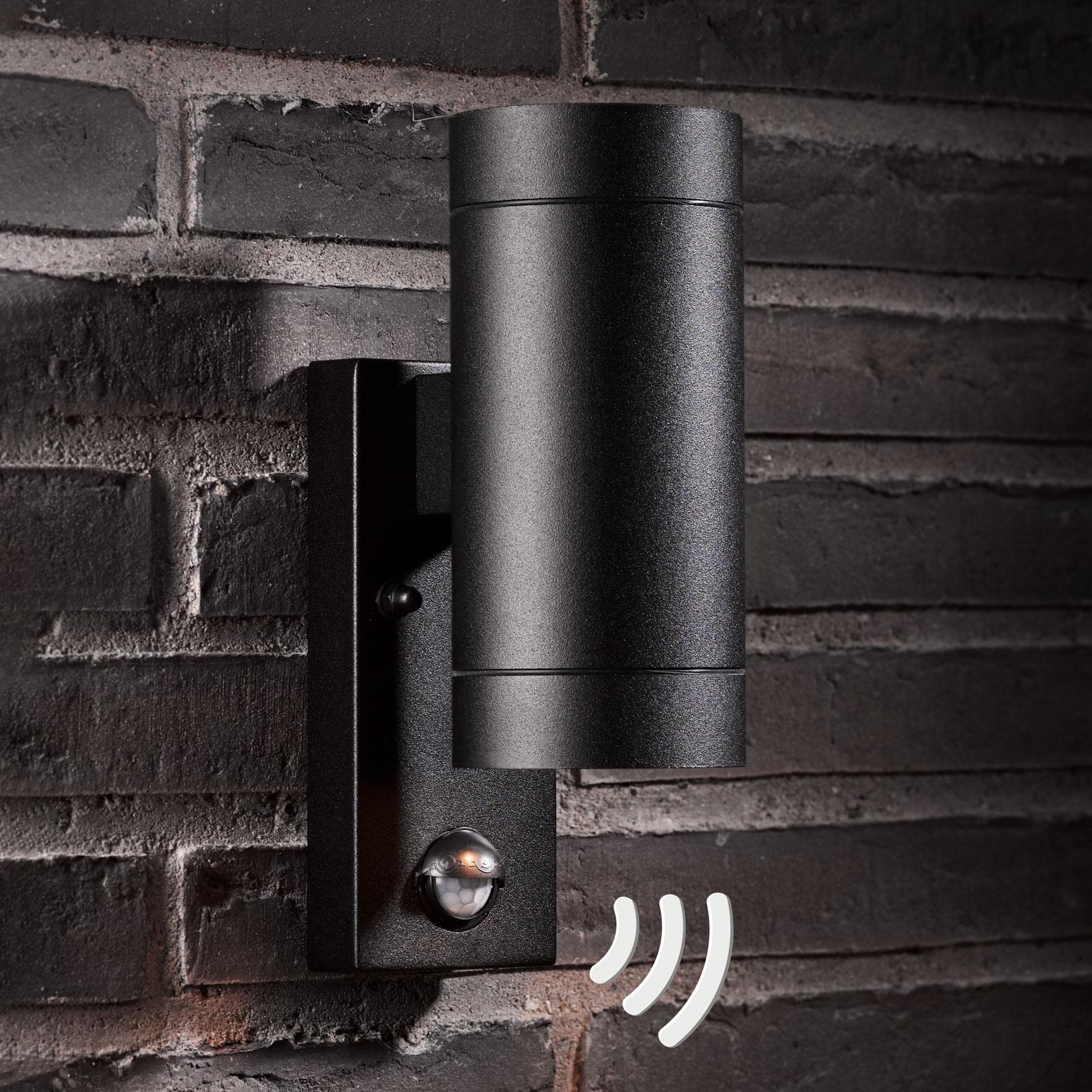 Buitenwandlamp Tin Maxi Double sensor, zwart