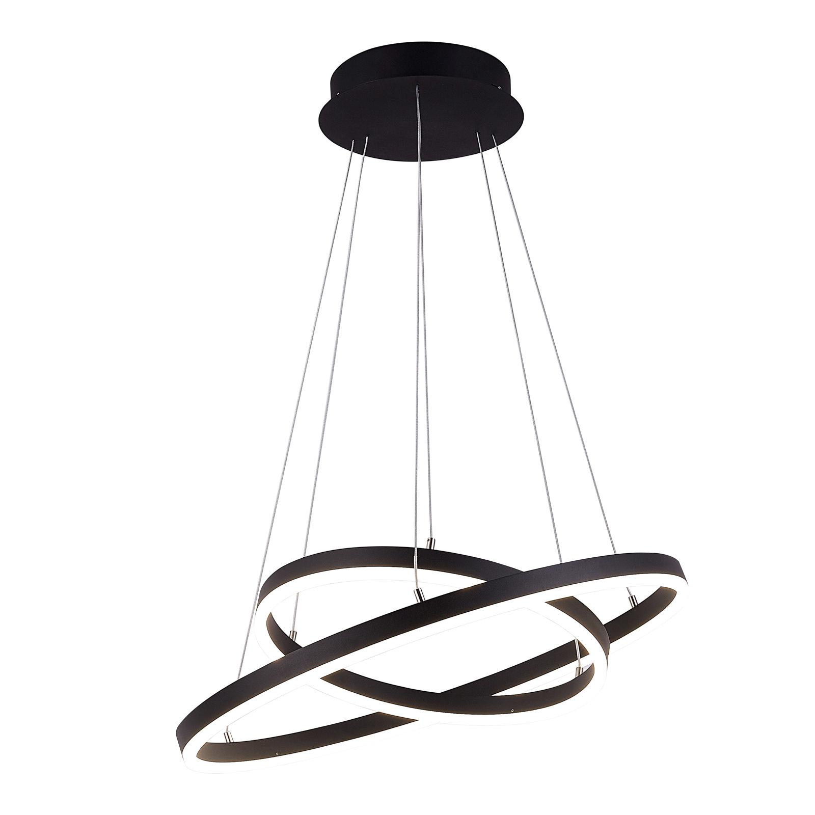 Arcchio Albiona LED závěsné světlo, černé, 2 kruhy