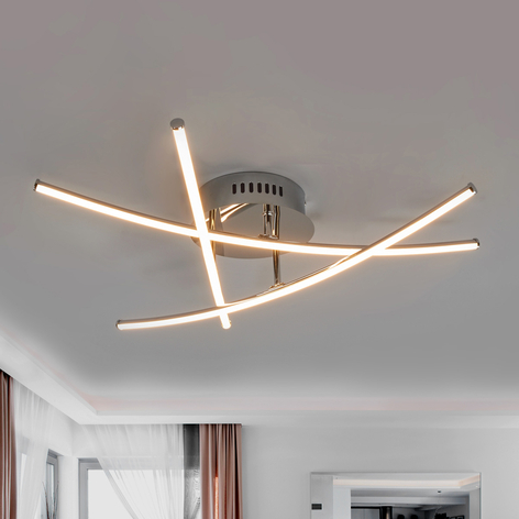 LED-Deckenlampe Yael, chrom, 3 Stäbe