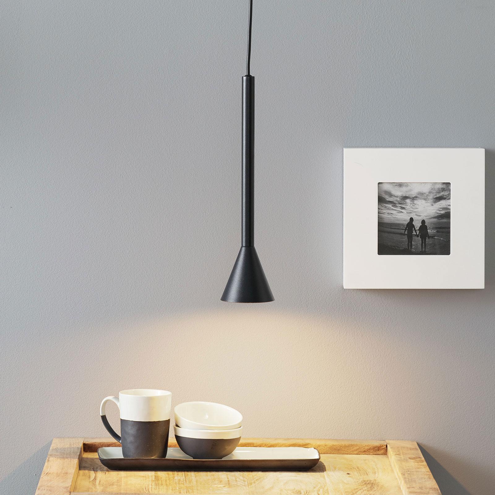 Lucande Caris hanglamp Ø8,5cm zwart/goud