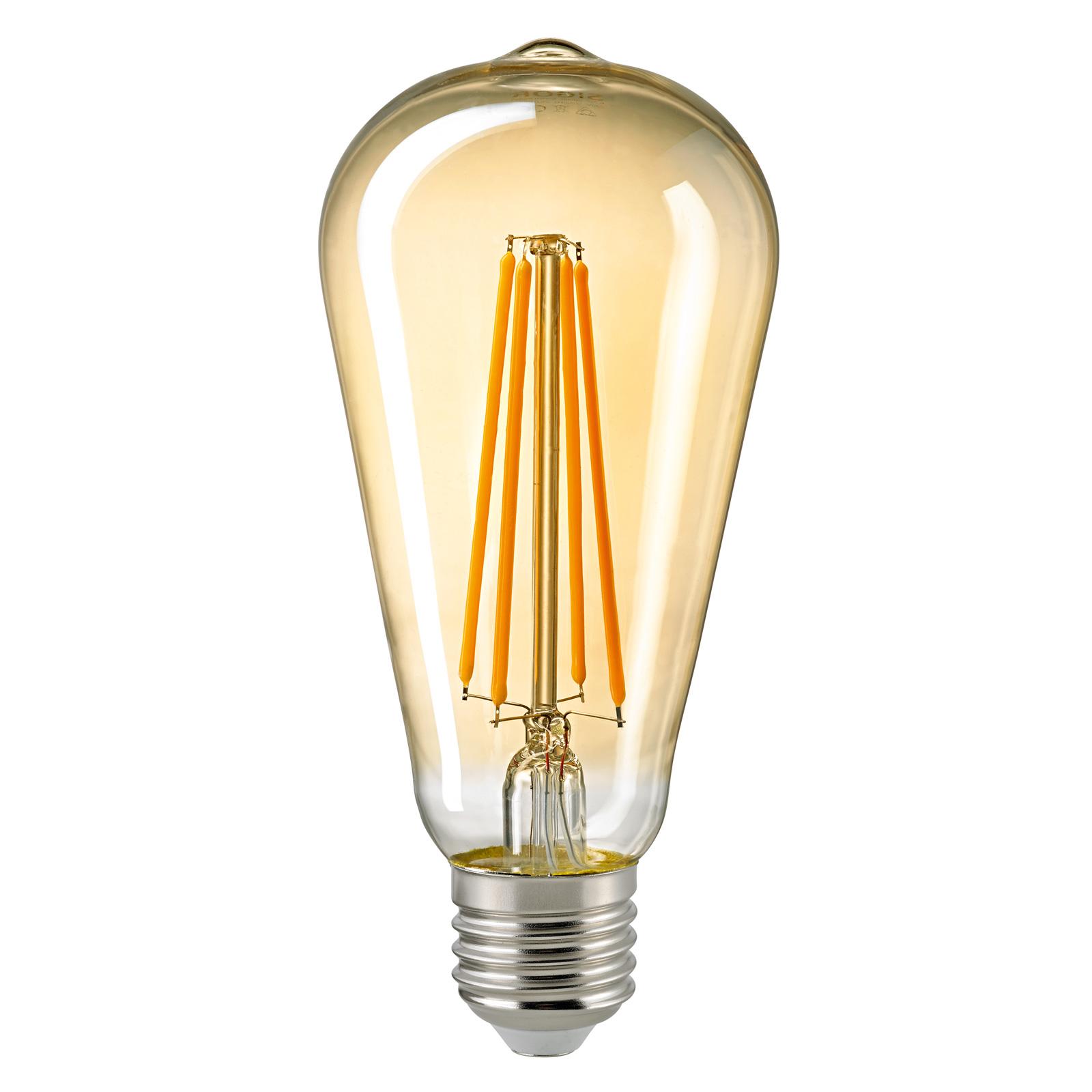 LED-pære E27 ST64 4,5 W filament Rustika gull