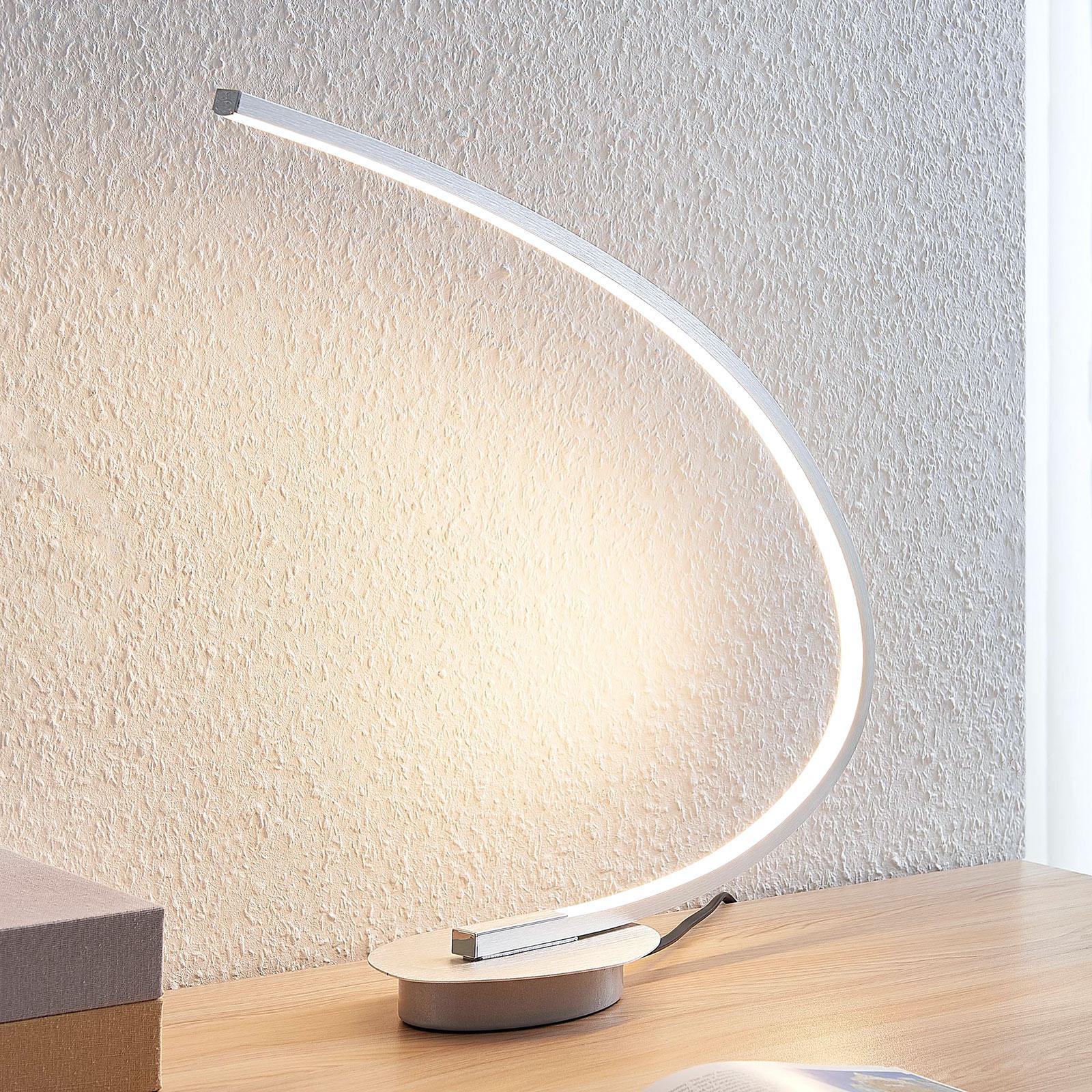 LED-pöytälamppu Nalevi, kaaren muoto, hopea
