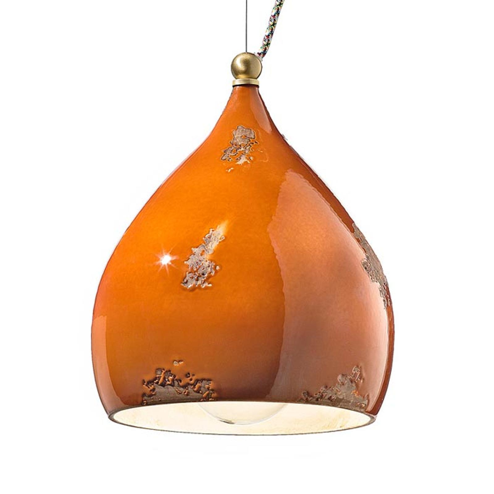 Závěsné světlo Federico z keramiky, oranžové