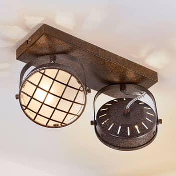 Lámpara LED de techo Tamin marrón óxido, 2 brazos