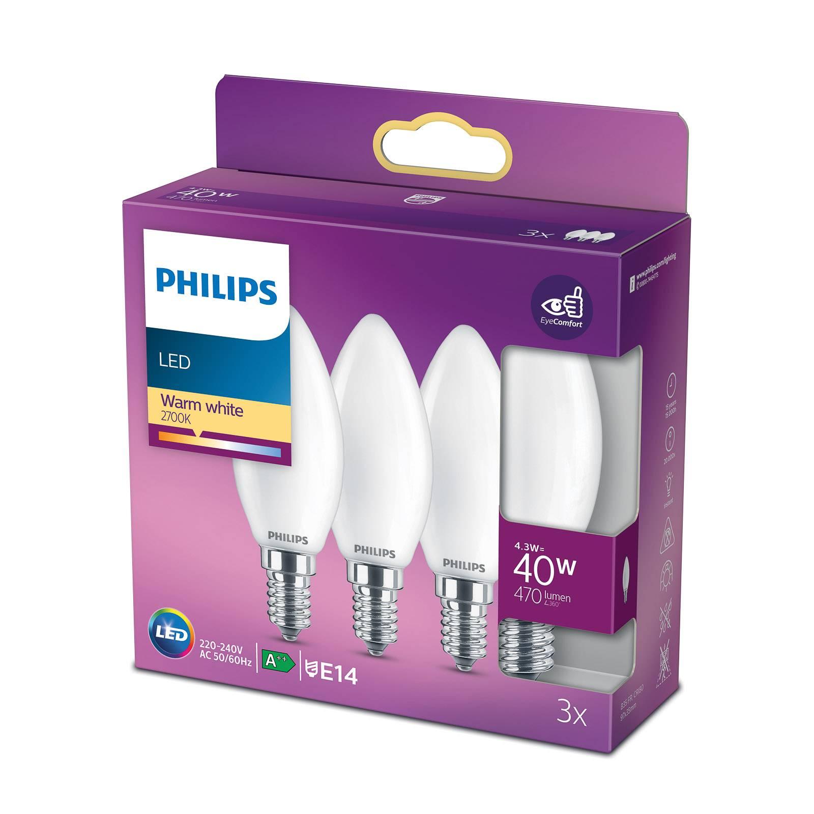 Philips LED candela E14 B35 4,3W satinato set 3x