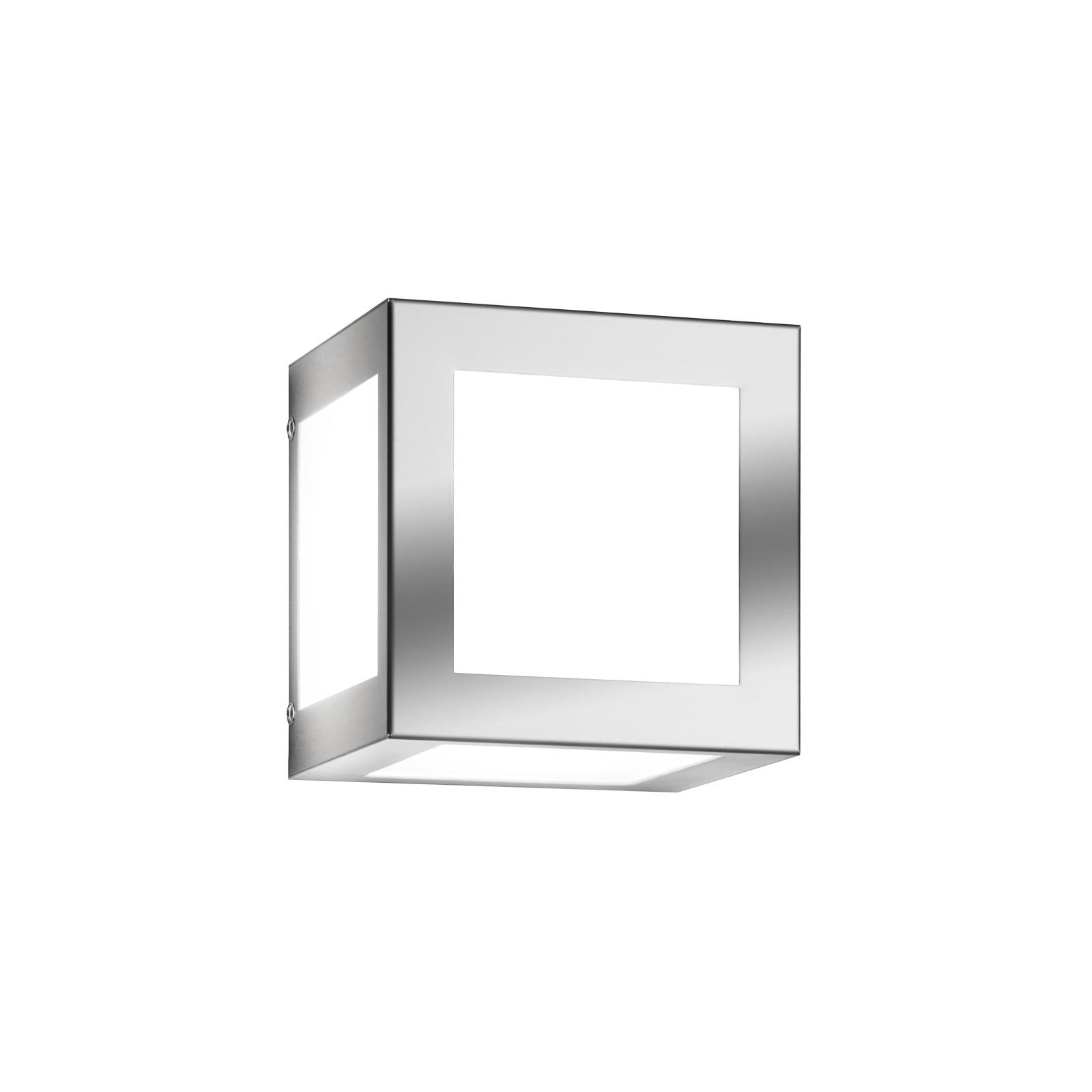 Applique d'extérieur Cubo cubique, acier inox mat