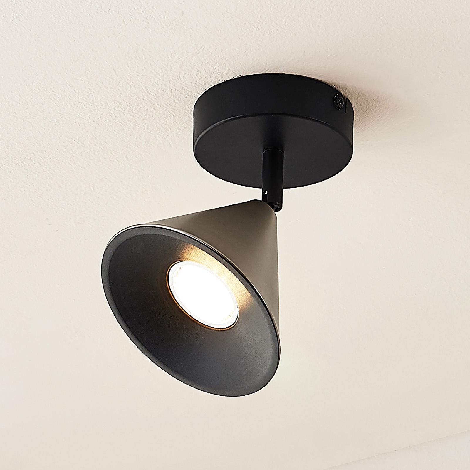 Lucande Kartio wandlamp 1-lamps kantelbaar, nikkel