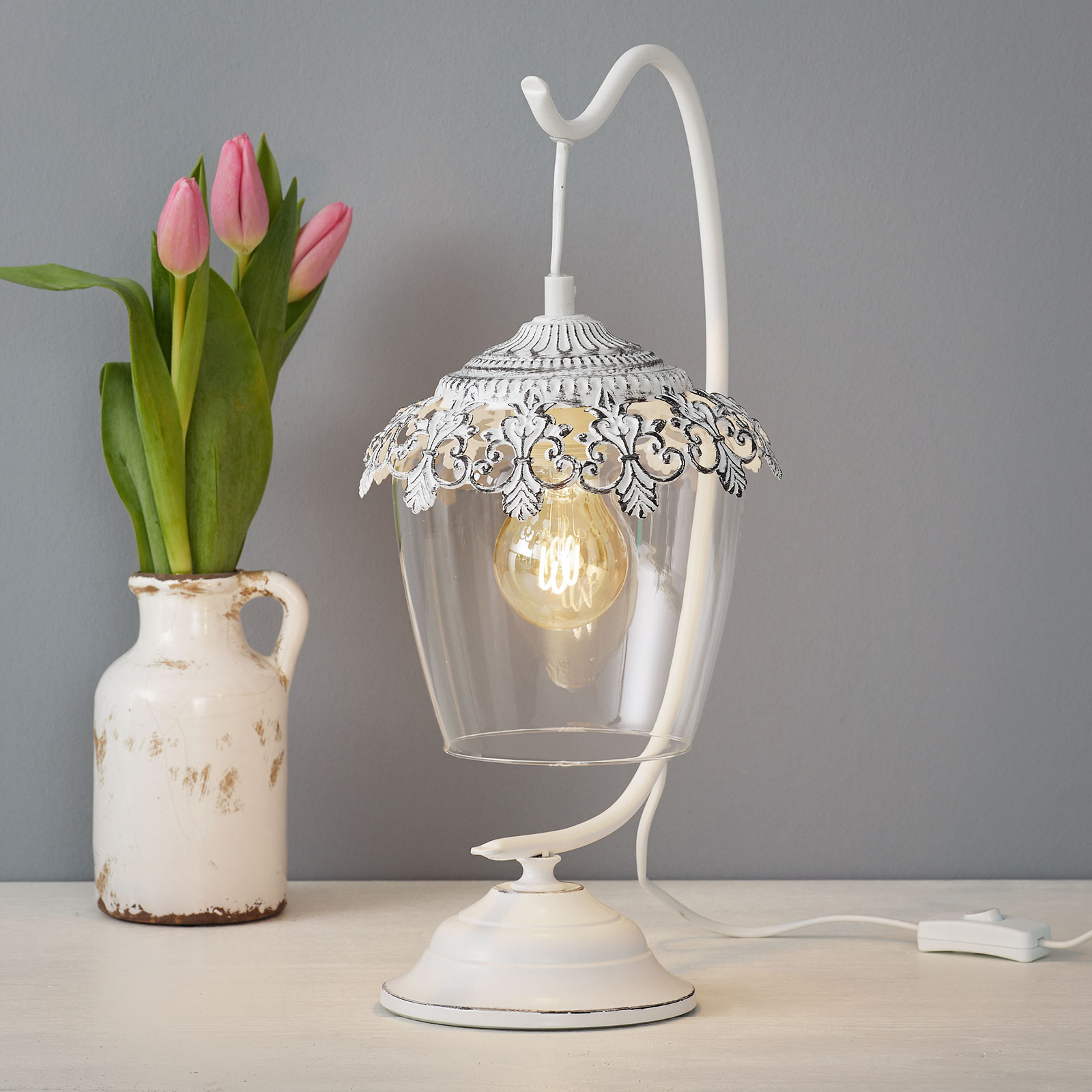 Lampe à poser patinée blanc Floriania