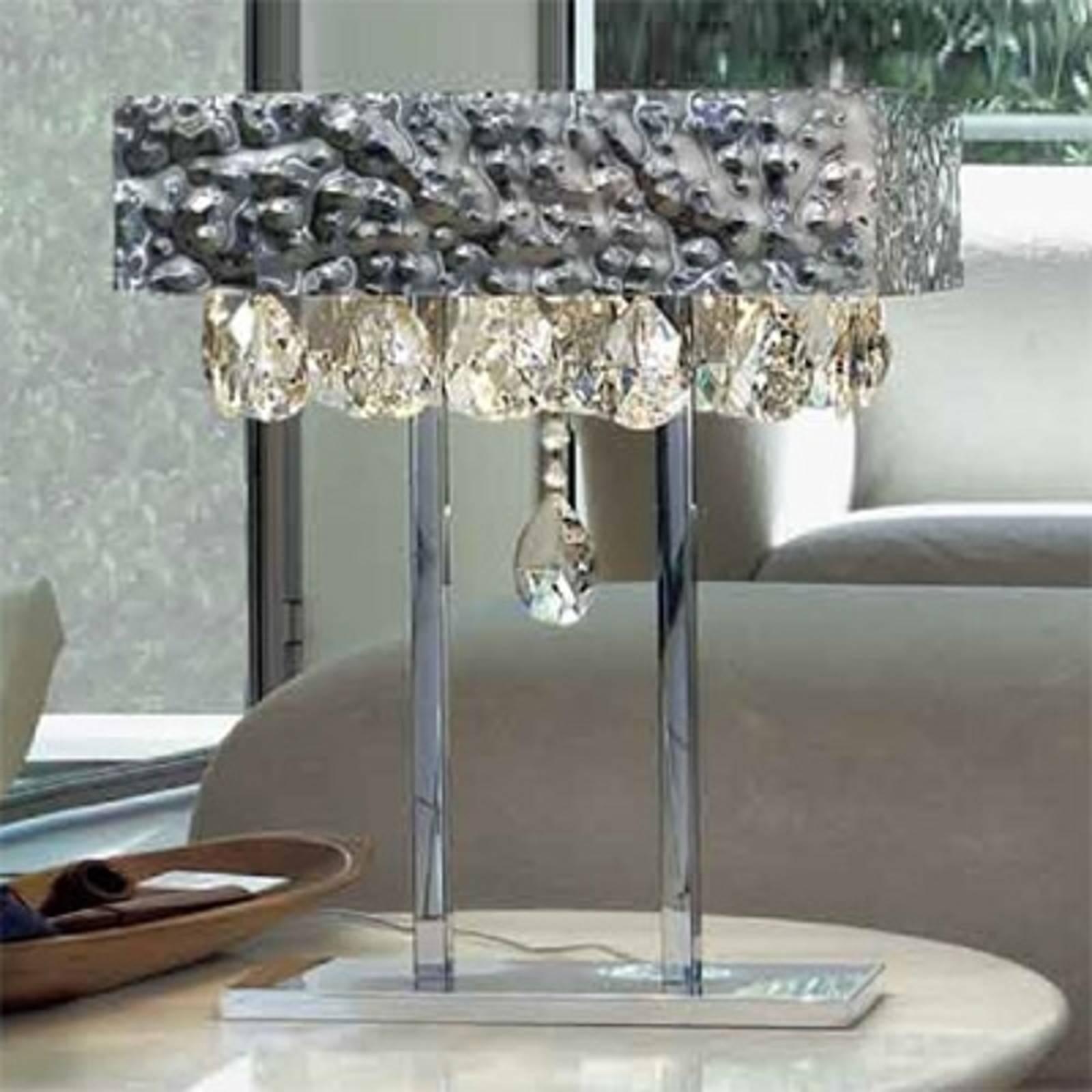 Tischleuchte MAGMA mit Kristallbehang, klar