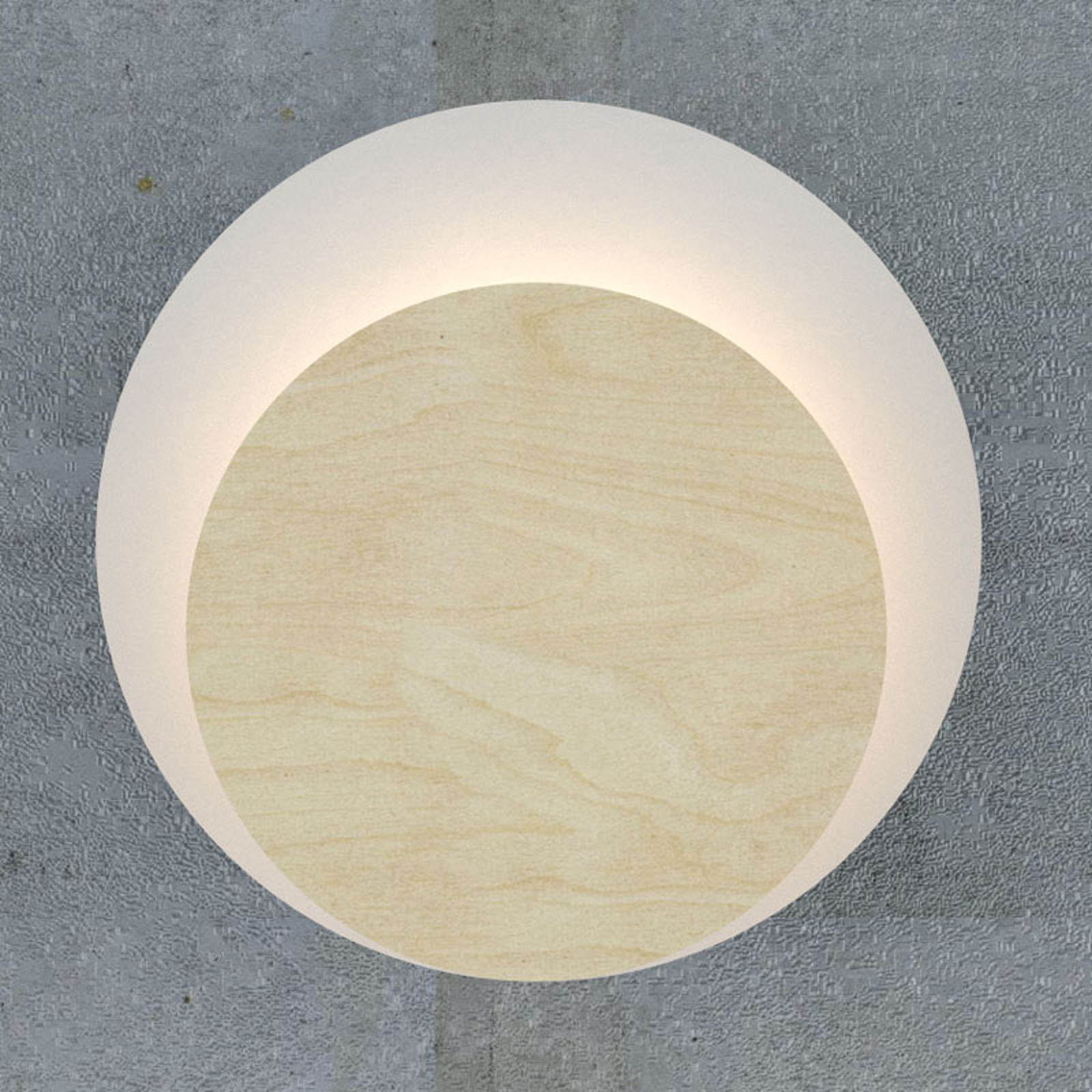 Wandlamp Circle in wit, decorplaat hout licht