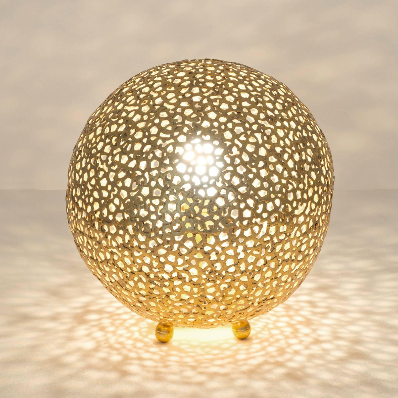 Lampe à poser Lily Grande, Ø 33cm, dorée