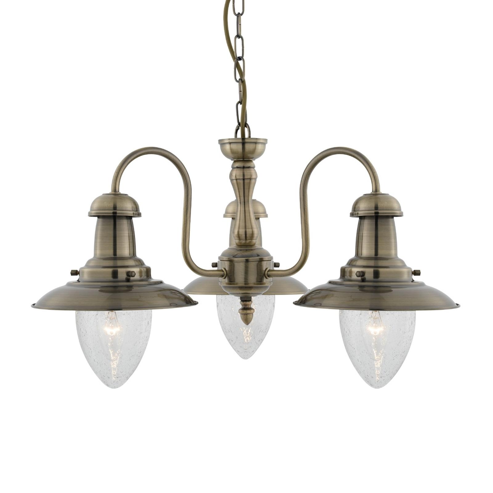 Hanglamp Fisherman, met 3 lampjes in oudmessing