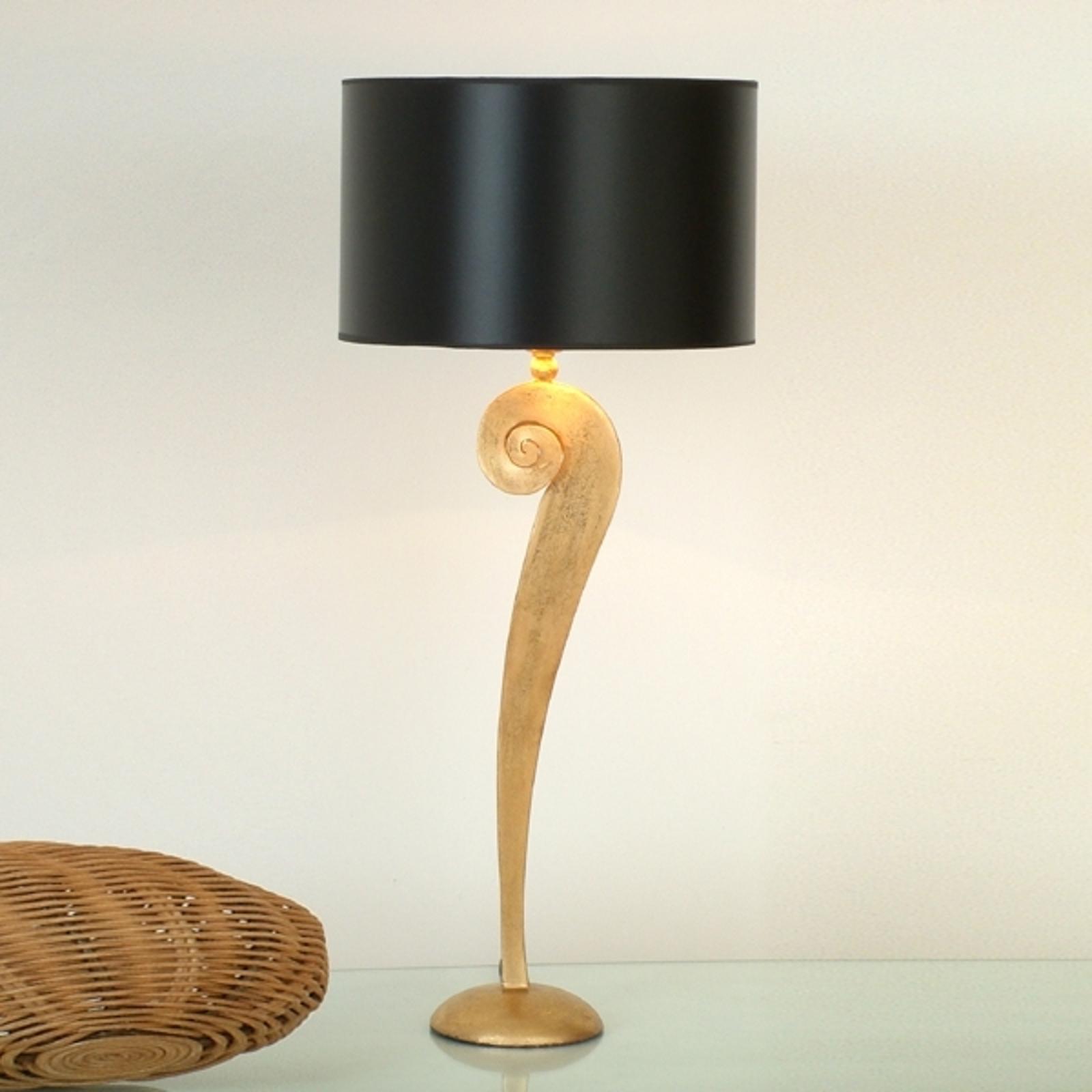 Lampe à poser Lorgolioso élégante en noir et or