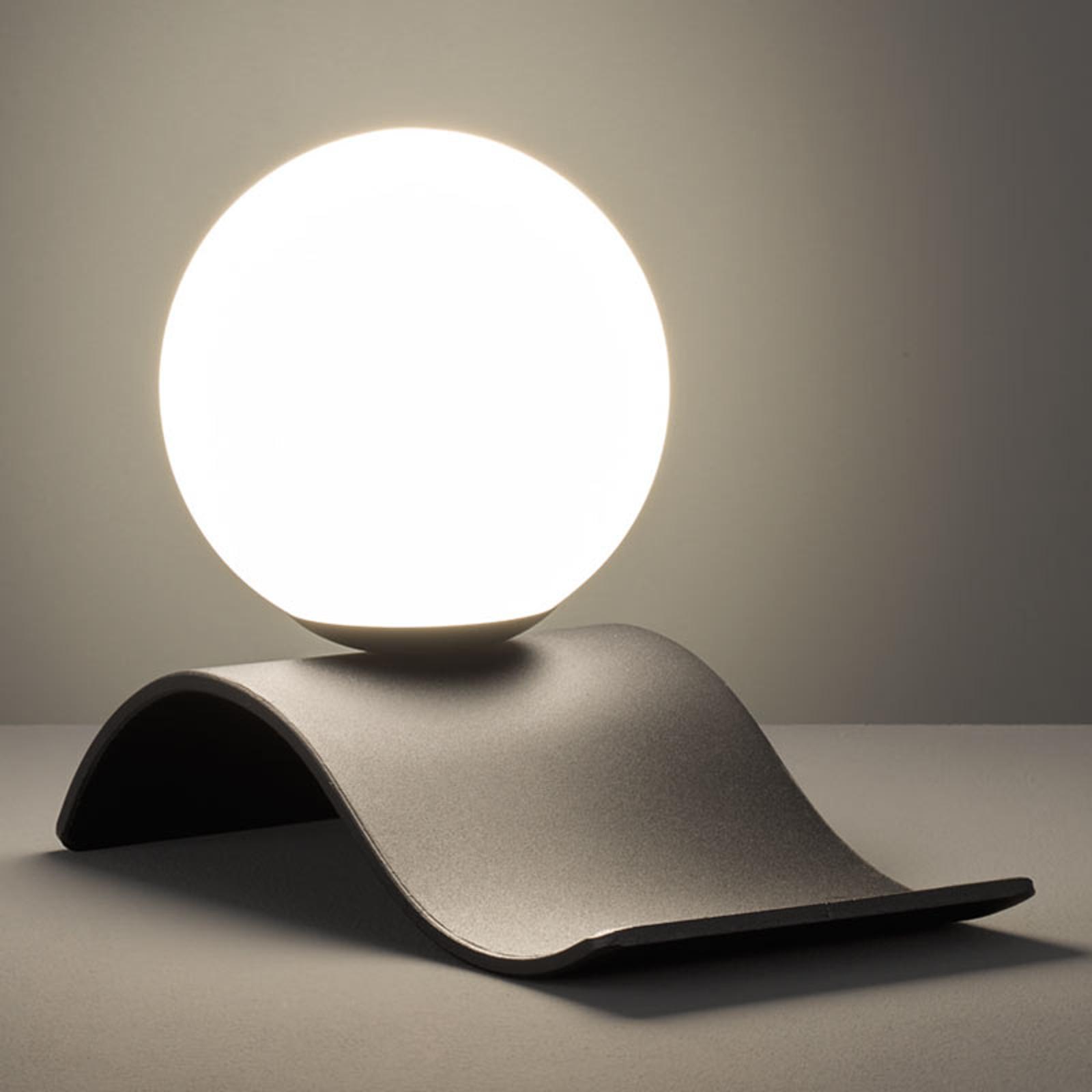 Glazen tafellamp Lara, zwart mat