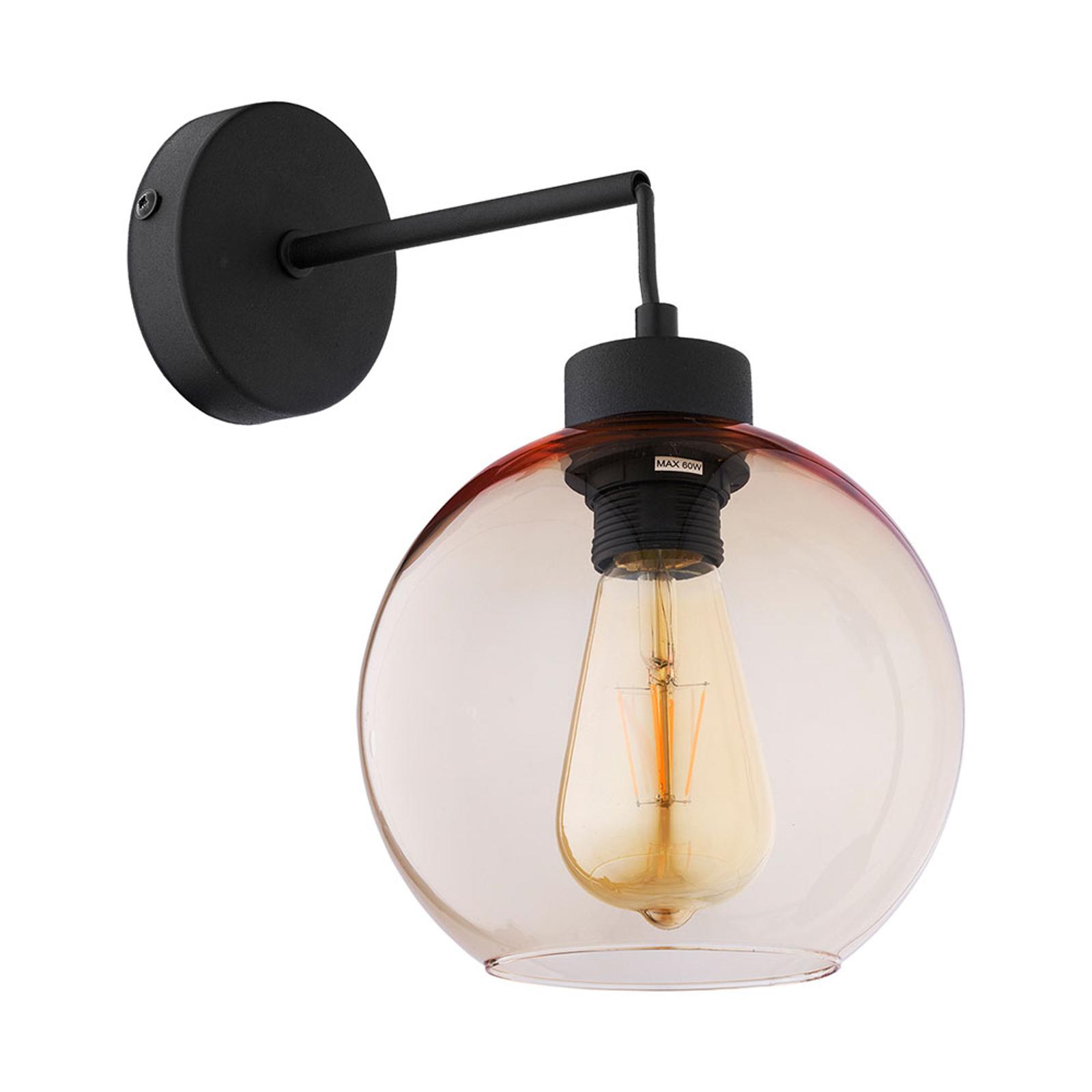 Wandlamp Cubus van glas, zwart/barnsteen