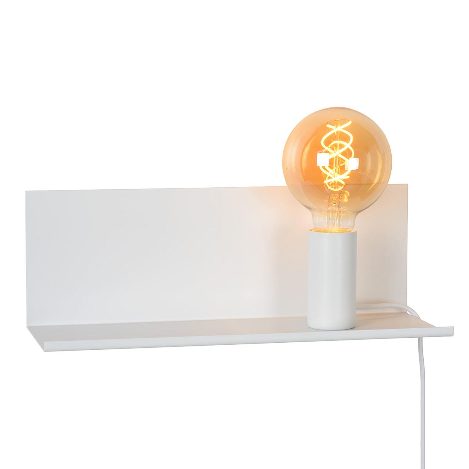 Sebo - witte wandlamp van metaal met legbord