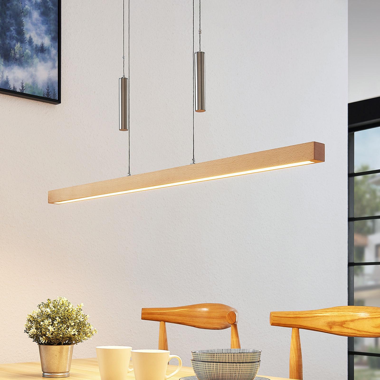 Lampa wisząca LED w formie belki Pia drewno bukowe