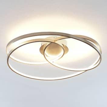 Lindby Ronka LED plafondlamp, nikkel gesatineerd