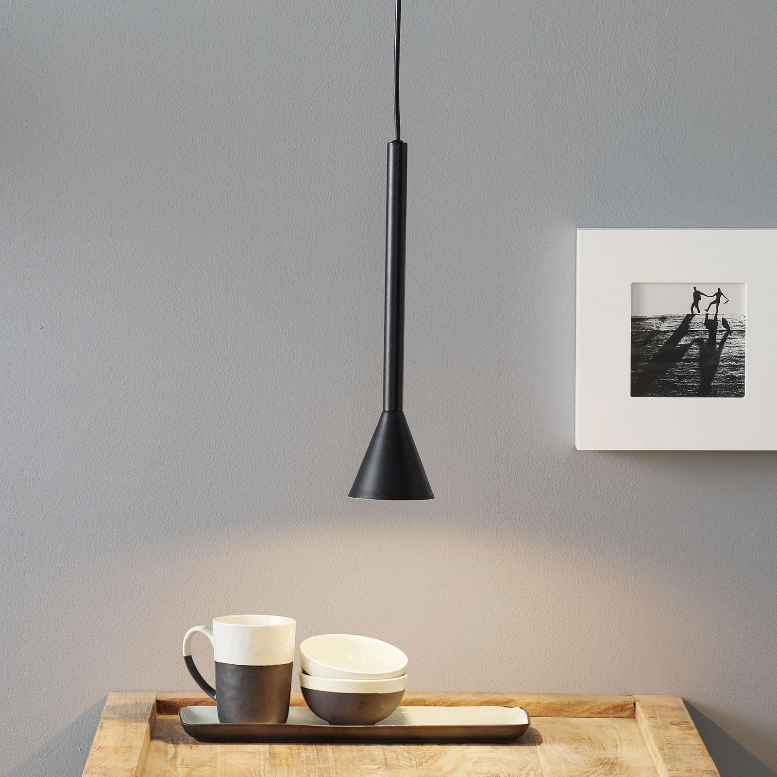 Lucande Caris hanglamp Ø8,5cm zwart/wit