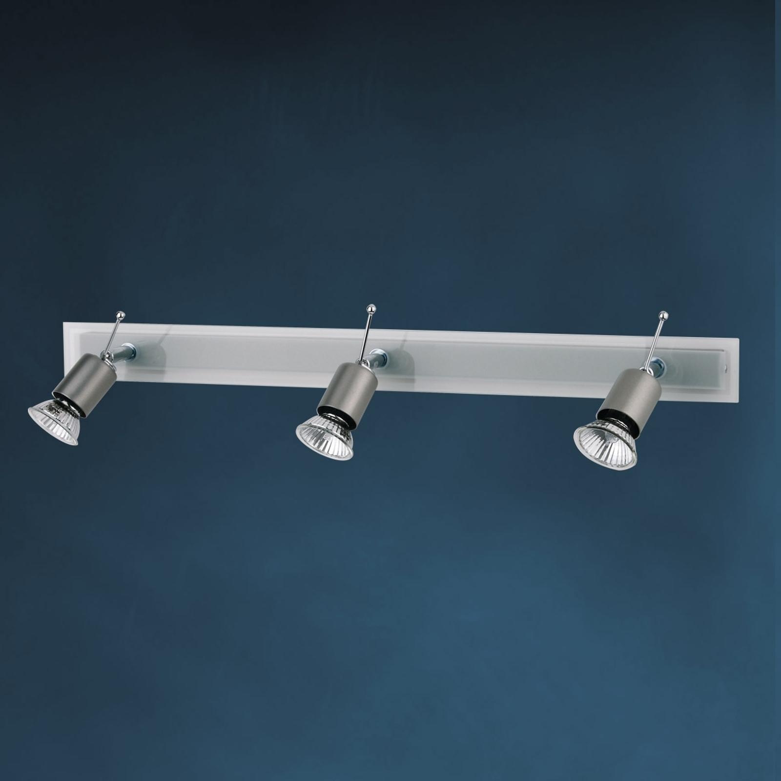 Fraaie plafondlamp SARA met glasplaat 3-lichts