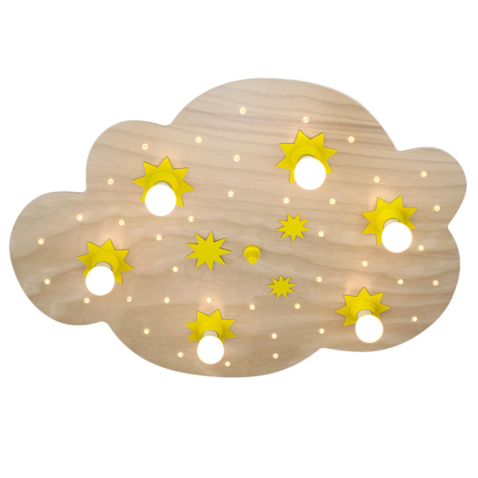Plafondlamp sterrenwolk, in beuken natuur, 80 cm