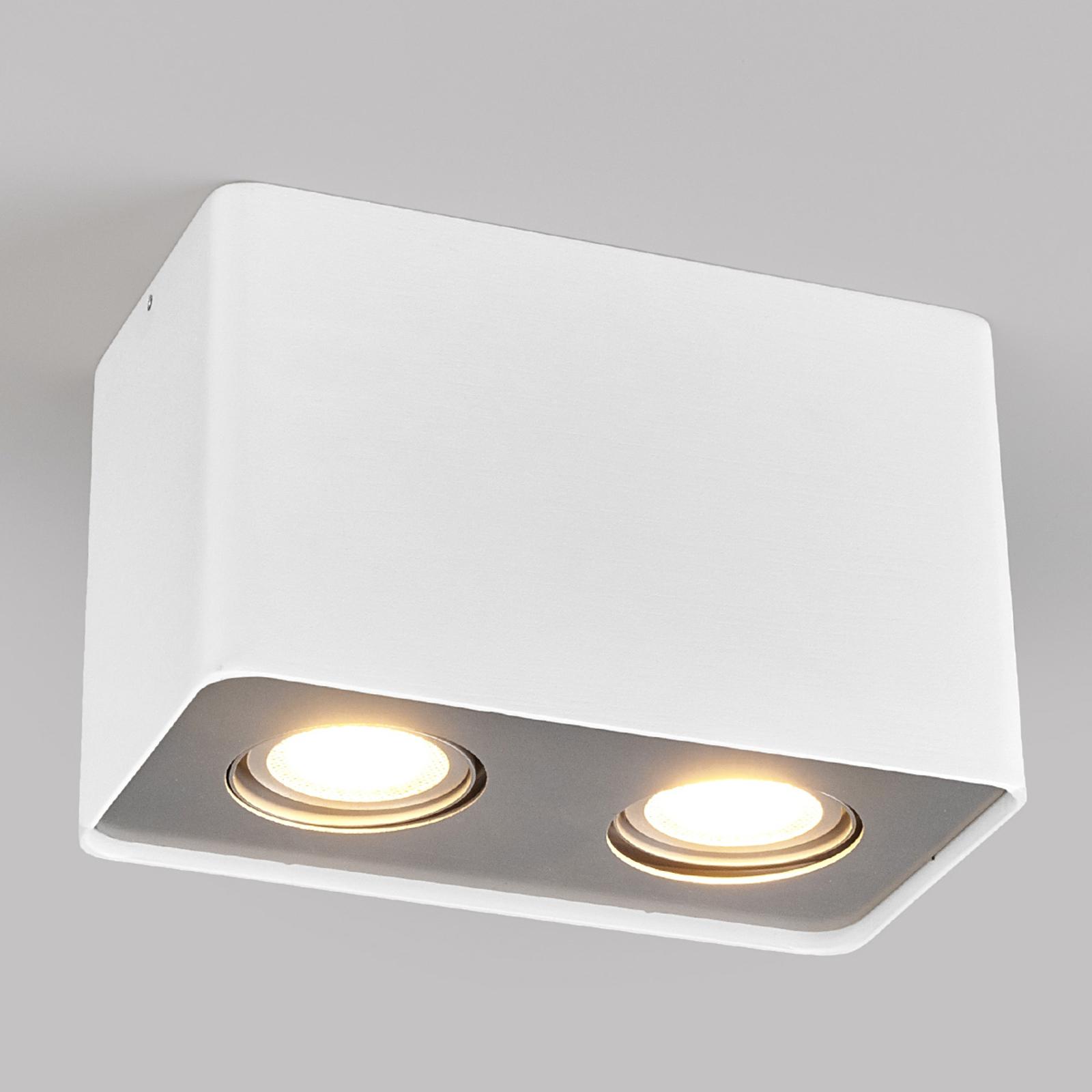 GU10-LED downlight Giliano, 2-lamps, hoekig, wit