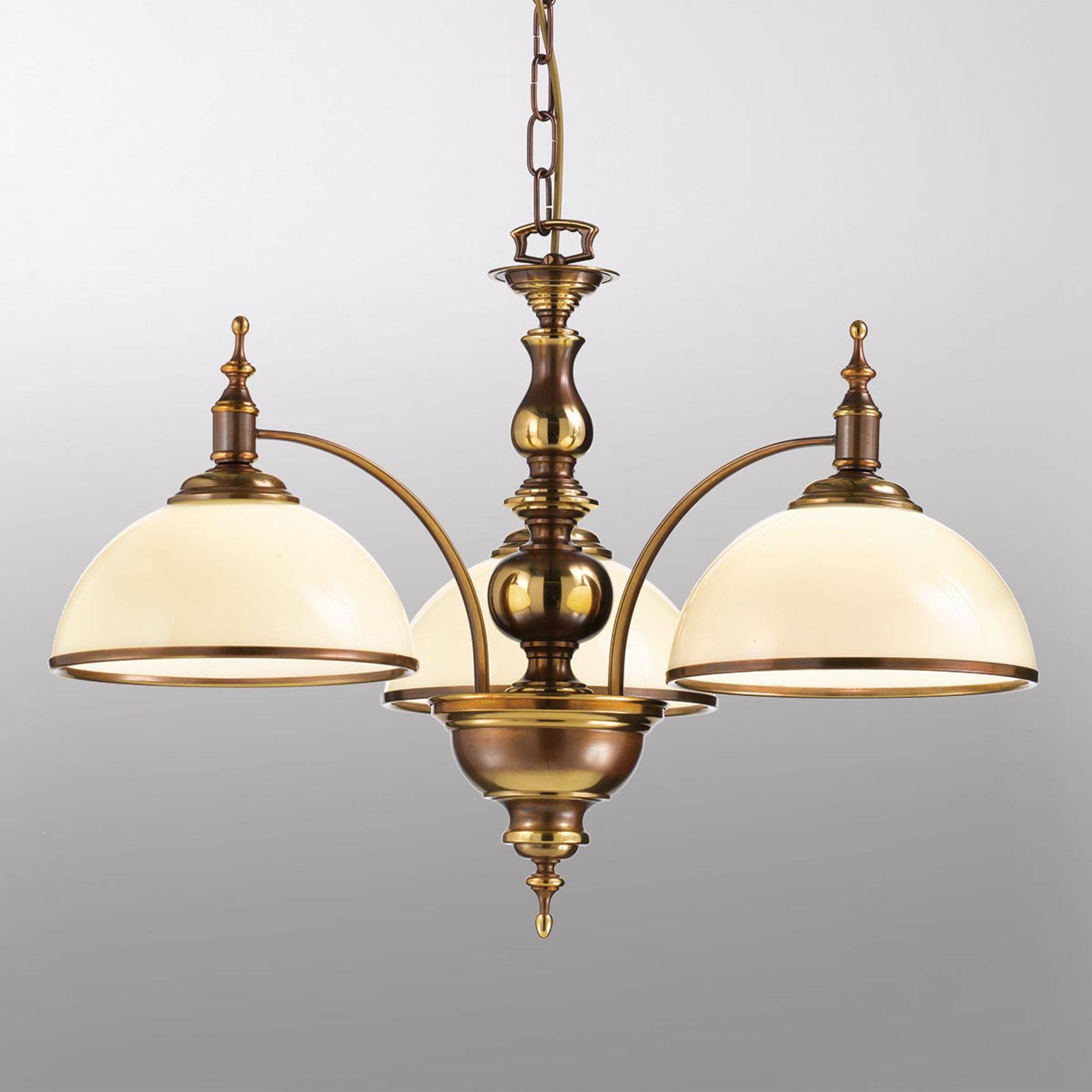 Lampada a sospensione Corola 3 luci, stile antico