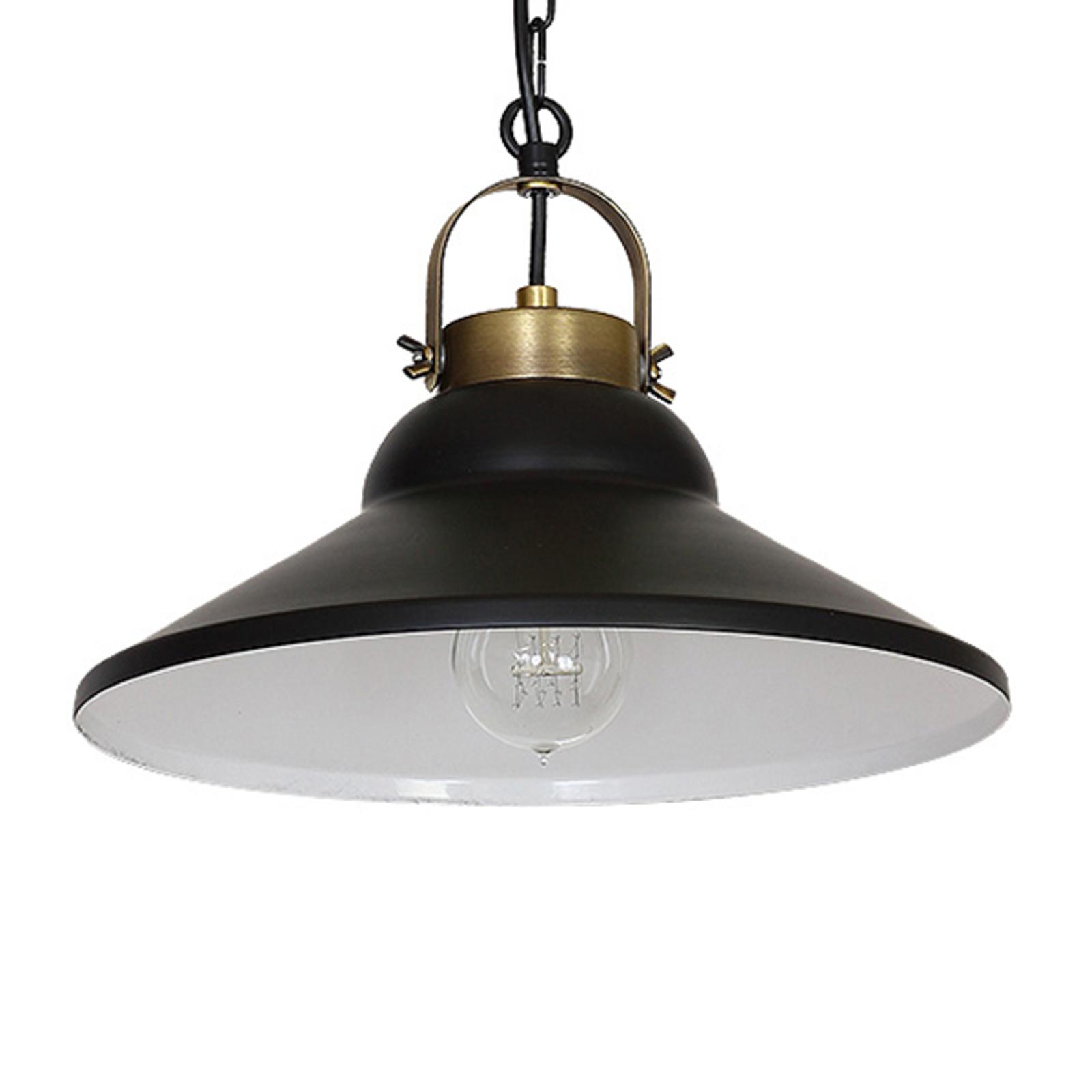 Hanglamp Iron, zwart/wit/messing antiek