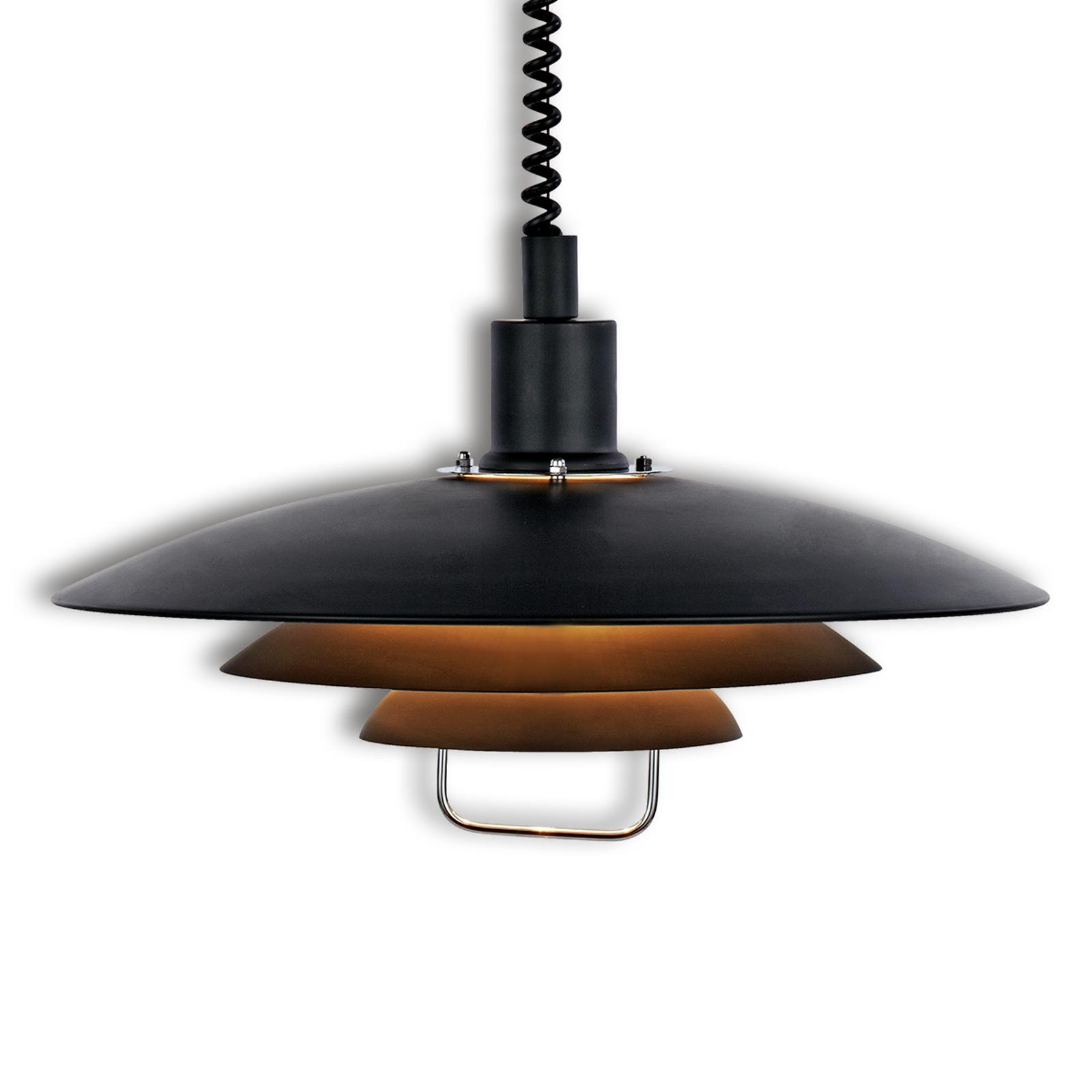 Zwarte hanglamp Kirkenes, in hoogte verstelbaar