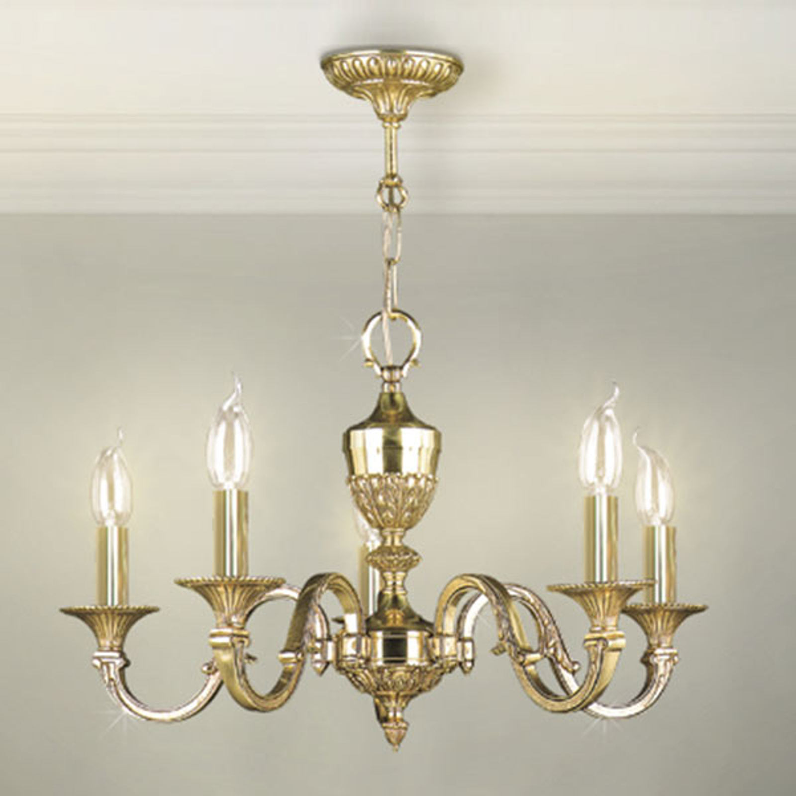 Ljuskrona Tamesis, guldpatinerad, 5 lampor