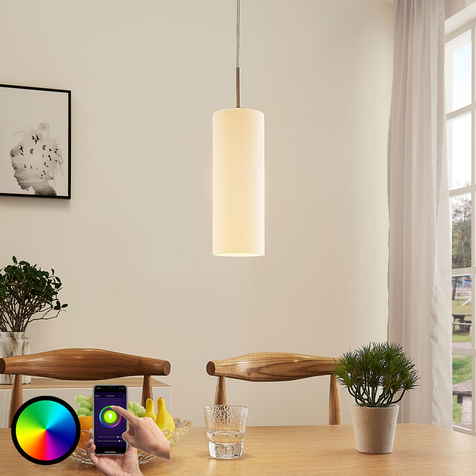 Lindby Smart lampa wisząca LED Felice, żarówka RGB