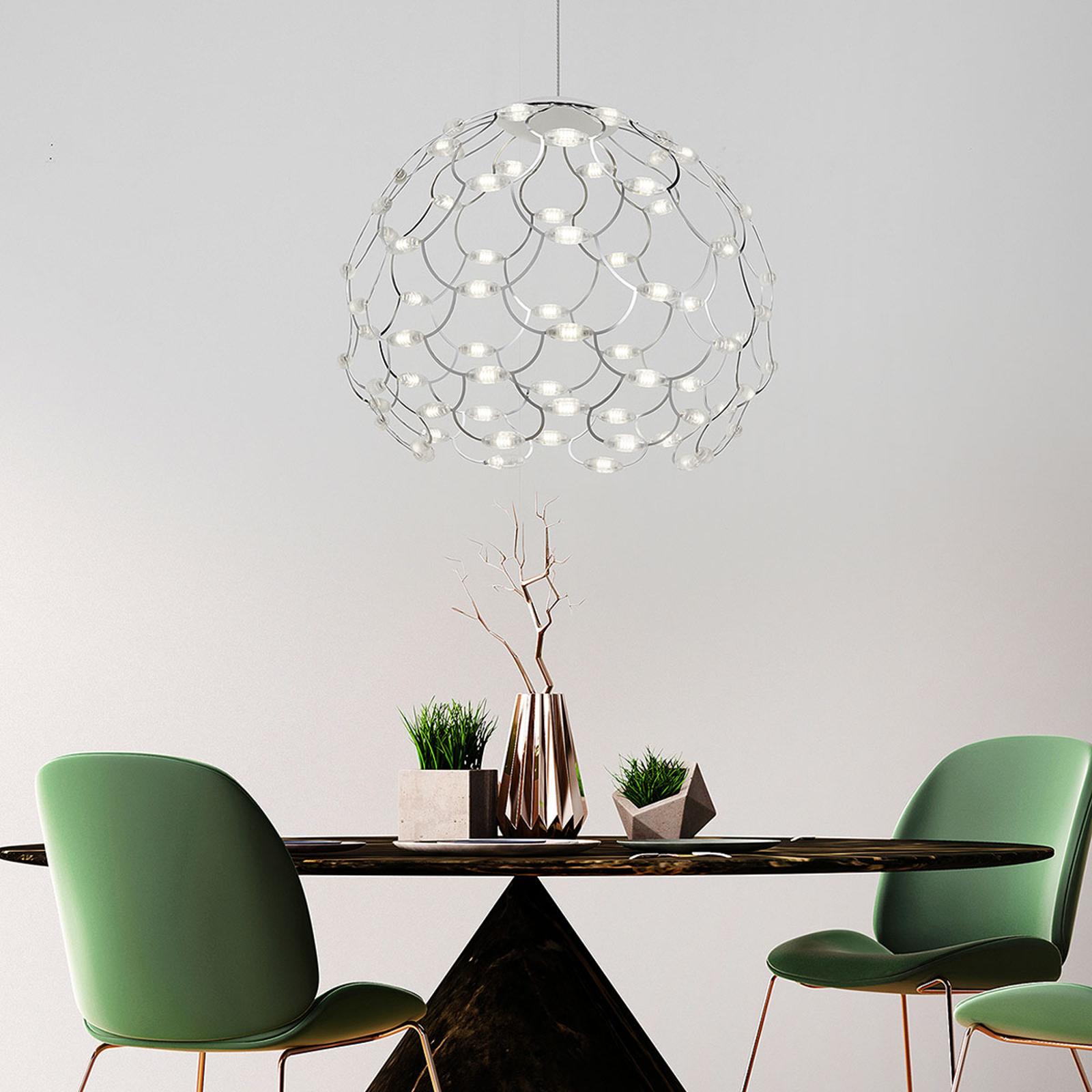 Verchroomde LED hanglamp Lamoi 60 cm