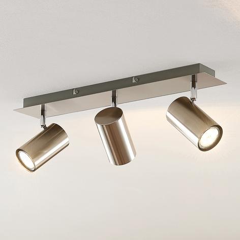 Lindby Joffrey plafondspot, 3-lamps, nikkel