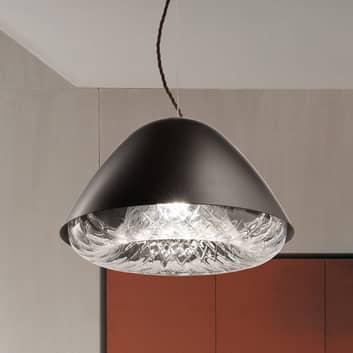Lámpara colgante Kira SP P E27 con cristal, negro