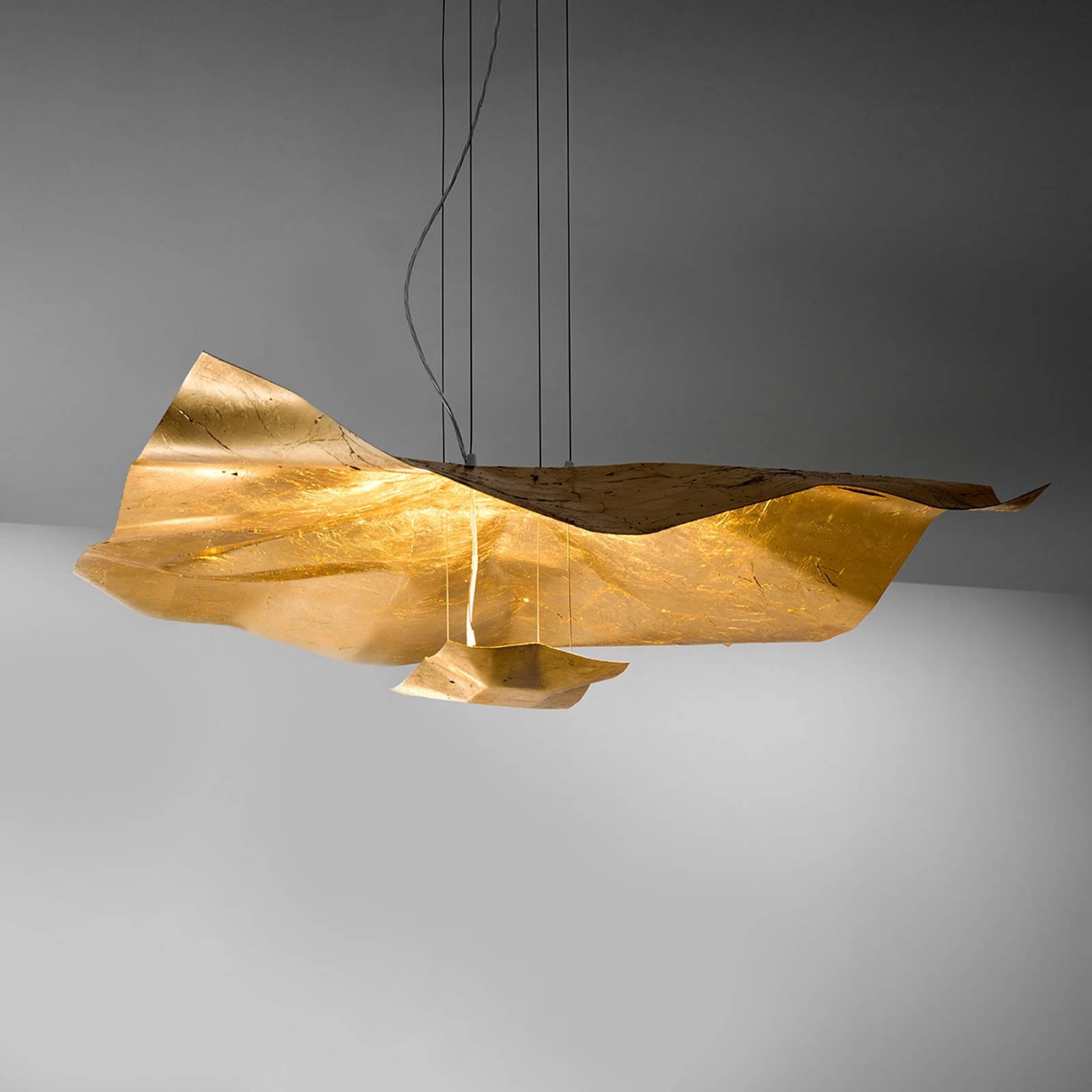 Imponująca lampa wisząca LED Crash, złota